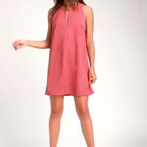 LULU'S NEAR OR BAR RUSTY ROSE SHIFT DRESS